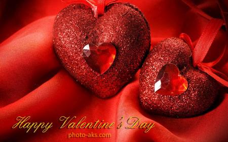عکس عاشقانه دو قلب قرمز زیبا red love heart wallpaper