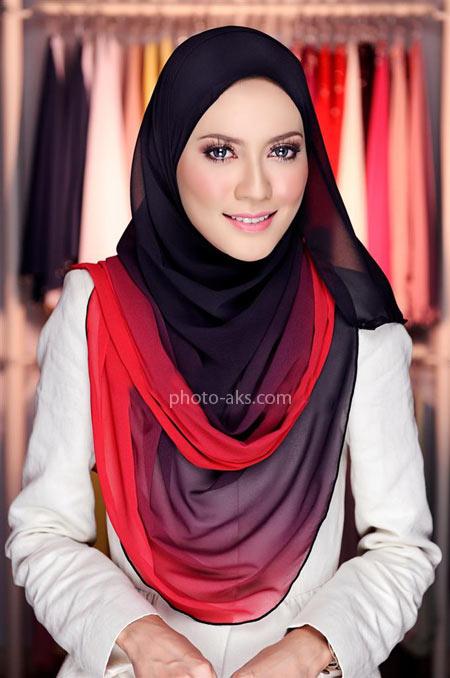 مدل شال تابستانی زیبا red black hijab