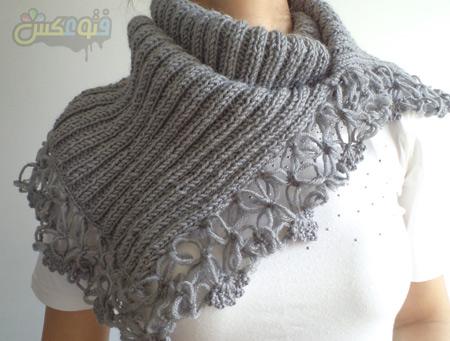 شال بافتنی طرح دار زمستانه scarves winter womens