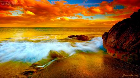 منظره غروب ساحل دریا sunset beach