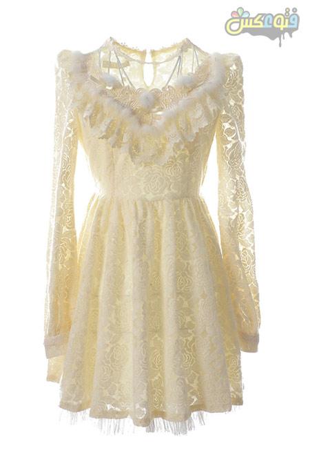 لباس توری کوتاه دخترانه سفید lace dress white