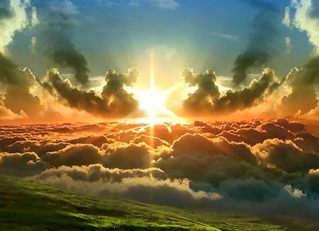 منظره طلوع خورشید از بالای ابرها sun and clouds nature