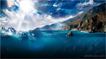 منظره تابش نور در اقیانوس sun light sea ocean