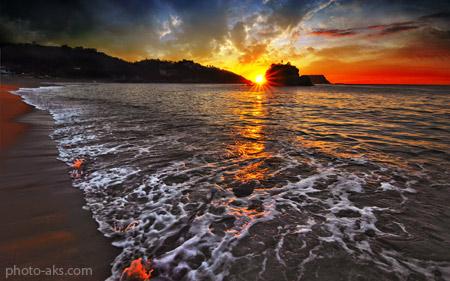 غروب زیبا در ساحل دریا sunset on the beach