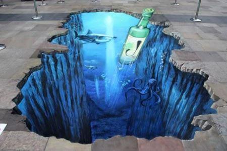 نقاشی سه بعدی اعماق دریا under ocean 3d art