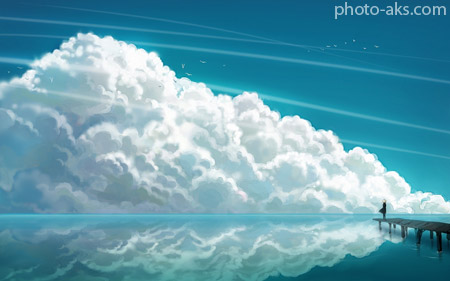 پوستر فانتزی نقاشی ابر waiting in clouds