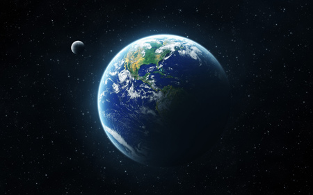 عکس باکیفیت کره زمین و ماه wallpaper earth moon