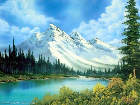 نقاشی طبیعت زیبای رودخانه و کوه winter mountain painting