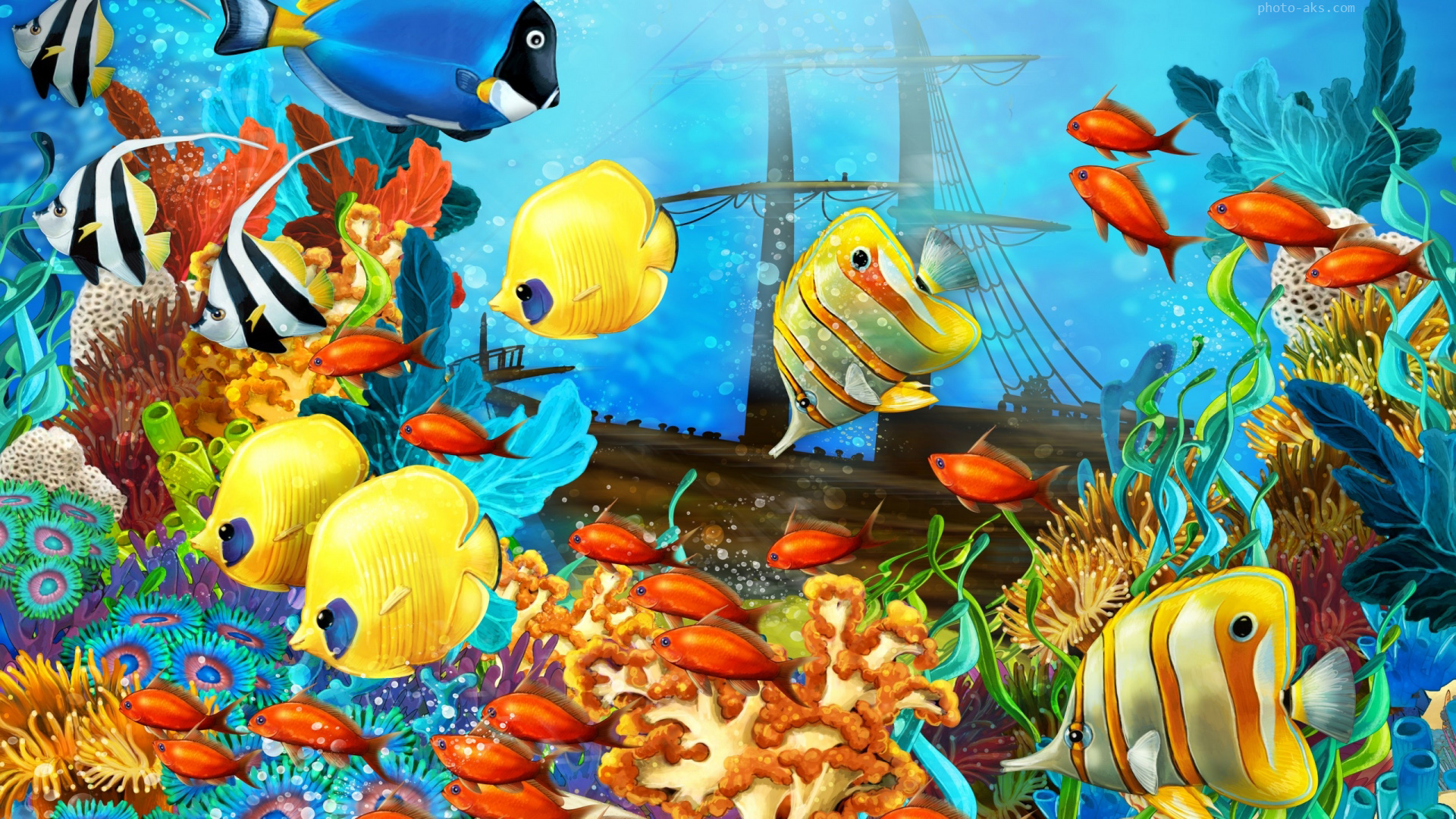 Aquarium fish painting for Fish tank paint