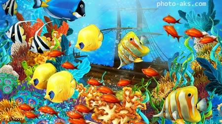 ماهی های آکواریومی رنگارنگ aquarium fish painting