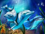 نقاشی زیبا از دلفین ها زیر آب