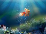 نقاشی ماهی قرمز زیر آب دریا