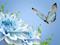 پوستر پروانه و گلهای آبی