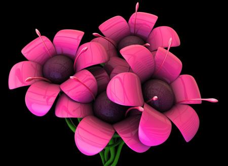 عکس گلهای صورتی سه بعدی 3d pink flowers