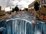 نقاشی سه بعدی رودخانه در خیابان