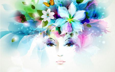 پس زمینه هنری چهره دختر و گلبرگ art girl flowers
