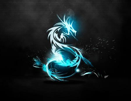 عکس انتزاعی اژدهای آبی dragon light luster