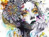 نقاشی انتزاعی دختر و گل