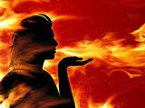 تصویر انتزاعی نفس آتشین دختر