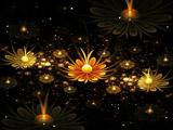 والپیپر انتزاعی از گلهای طلائی زیبا