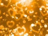پس زمینه قلب های طلایی درخشان