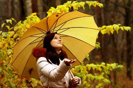 عکس دختر با چتر زرد زیر باران girl wallpaper in rain