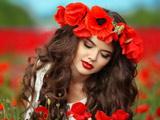 عکس دختر زیبا در میان گلهای شقایق