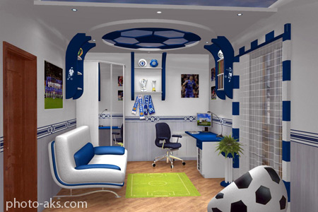 دکوراسیون فوتبالی اتاق خواب chelsea football bedroom