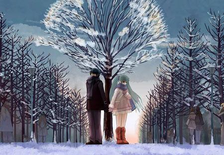 عکس فانتزی دختر و پسر در زمستان anime love walk winter