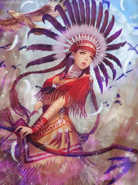 عکس دختر کمانگیر فانتزی girl archer fantasy