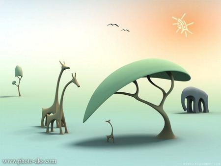 تصویر فانتزی کودکانه حیوانات fantasy animals jungel