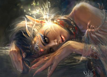 عکس تخیلی دختر فانتزی girl elf ears wallpaper