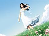 دختر زیبای کارتونی در دشت گل