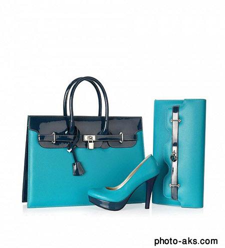 ست کیف و کفش مجلسی زنانه woman blue set