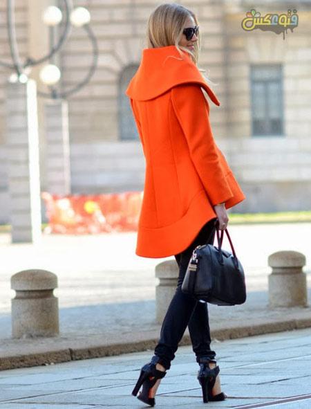 پالتو دخترانه فشن یقه بزرگ winter pink overcoat