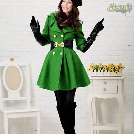 پالتو سبز کوتاه دخترانه green coat