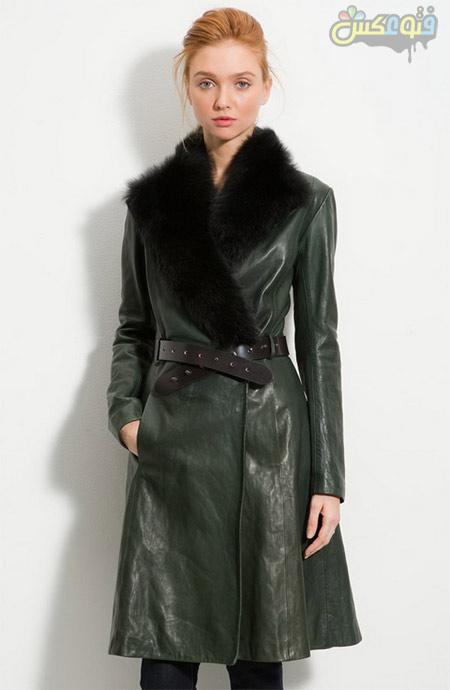 پالتو چرم خزدار دخترانه long leather coat woman