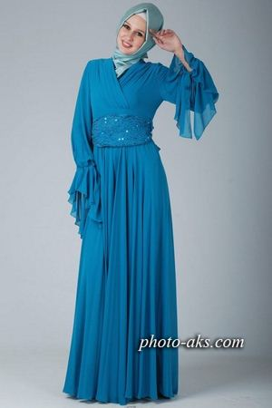 مدل لباس مجلسی آبی  blue party dress
