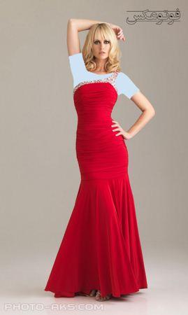 لباس مجلسی شیک زنانه قرمز prom dress 2012
