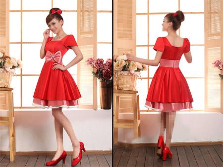 مدل پیراهن فون قرمز عروسکی red short dress