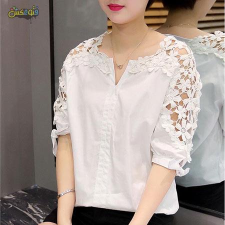 بلوز سفید دخترانه کره ای