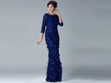 لباس مجلسی بلند آبی شیک ترکیه ای