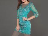 لباس مجلسی کوتاه کار شده آبی