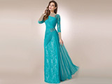 مدل لباس مجلسی بلند آبی فیرزه ای