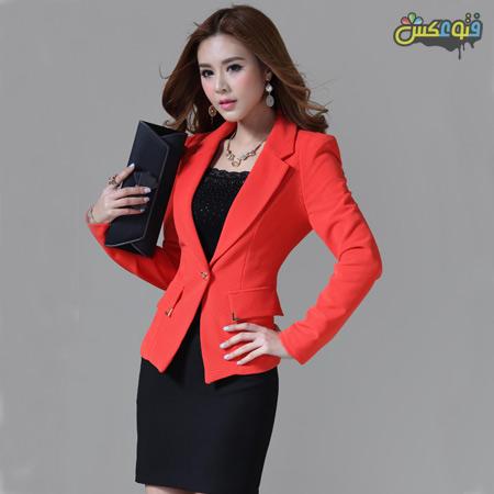 کت دامن قرمز و مشکی red black skirt suit