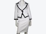 کت و دامن سفید با حاشیه مشکی