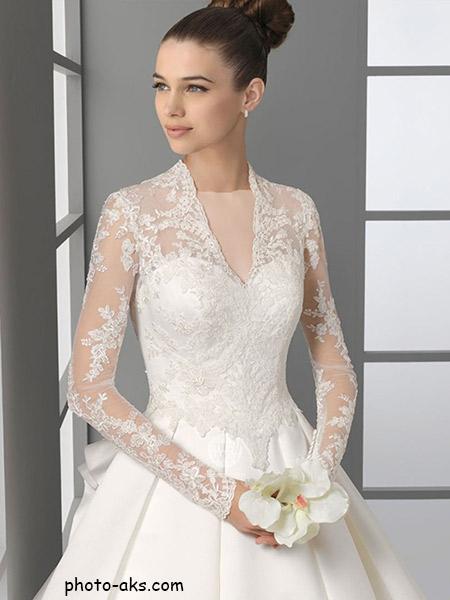 لباس عروس دانتل آستین دار lebas aroos dantel