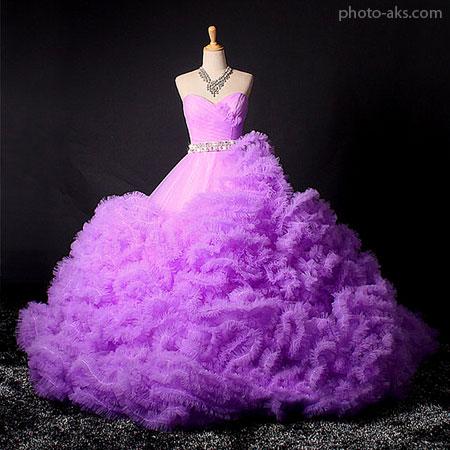 لباس عروس بنفش با دامن پف دار violet wedding dress