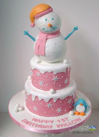 کیک تولد زمستانی آدم برفی snowman cake