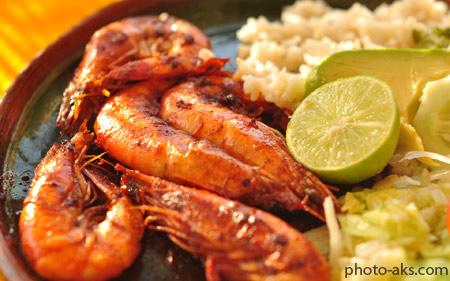 غذای دریایی با میگو seafood shrimp